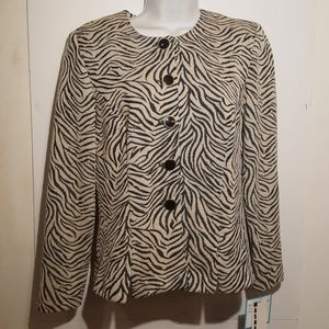 Leslie Fay Blazer Animal Print Button Front Size 8